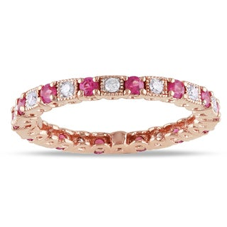 Miadora 14k Gold Pink Sapphire and 1/5ct TDW Diamond Ring (G-H, SI1-SI2) with Bonus Earrings