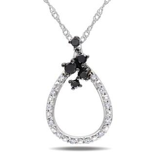 Haylee Jewels 10k Gold 1/4ct TDW Black and White Diamond Necklace (H-I, I2-I3)