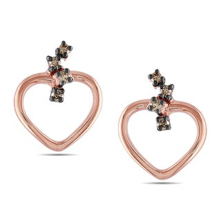 Miadora 10k Rose Gold 1/10ct TDW Brown Diamond Stud Earrings