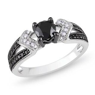 Miadora Sterling Silver 1ct TDW Round-cut Black and White Diamond Ring (H-I, I2-I3)