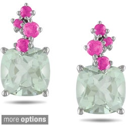 Miadora 10k White Gold Amethyst Stud Earrings