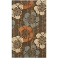Handmade Blossom Brown Wool Rug (3' x 5')