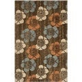 Handmade Blossom Brown Wool Area Rug (5' x 8')