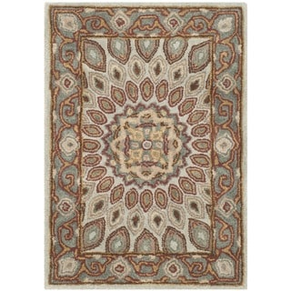 Safavieh Handmade Heritage Medallion Blue/ Grey Wool Rug (2' x 3')