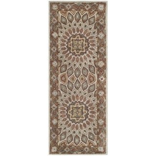 Safavieh Handmade Heritage Medallion Blue/ Grey Wool Rug (2'3 x 12')
