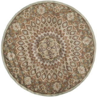 Safavieh Handmade Heritage Medallion Blue/ Grey Wool Rug (6' Round)