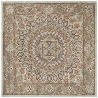 Safavieh Handmade Heritage Medallion Blue/ Grey Wool Rug (6' Square)