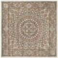Safavieh Handmade Heritage Medallion Blue/ Grey Wool Rug (6' Square)