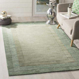Handmade Impressions Solo Beige/ Green New Zealand Wool Rug (6' Square)
