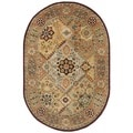 Handmade Persian Legend Diamonds Multi/ Rust N.Z. Wool Rug (4'6 x 6'6 Oval)