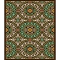 Safavieh Veranda Piled Chocolate Brown/ Aqua Green Rug (5'3 x 7'7)