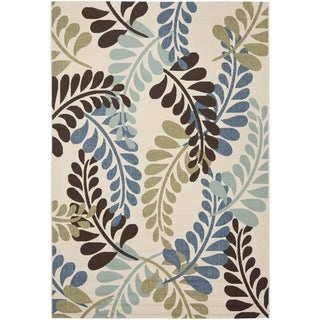 Safavieh Veranda Piled Cream/ Aqua Green Rug (4' x 5' 7)