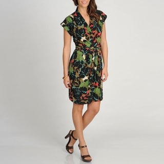 Marina Women's Floral Print Cap Sleeve Wrap Dress