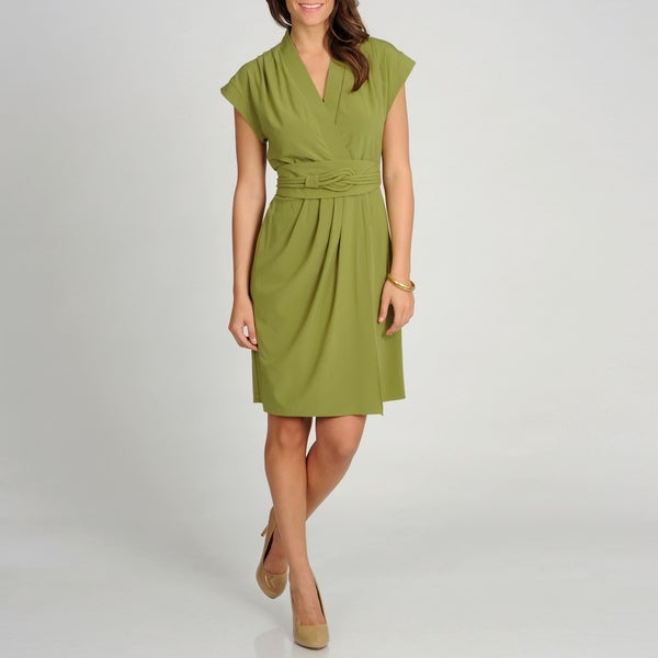 Marina Women's Green Cap Sleeve Sheath Wrap Dress