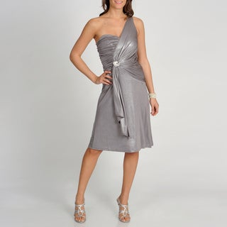 Marina Women's Steel Foiled One-shoulder Formal Dress