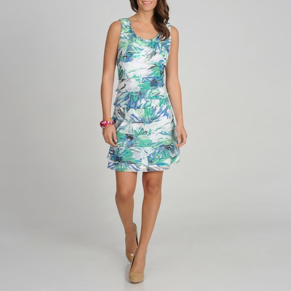S.L. Fashions Women's Teal Floral Printed Tiered Dress