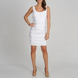 S.L. Fashions Women's White Sleeveless Tiered Dress