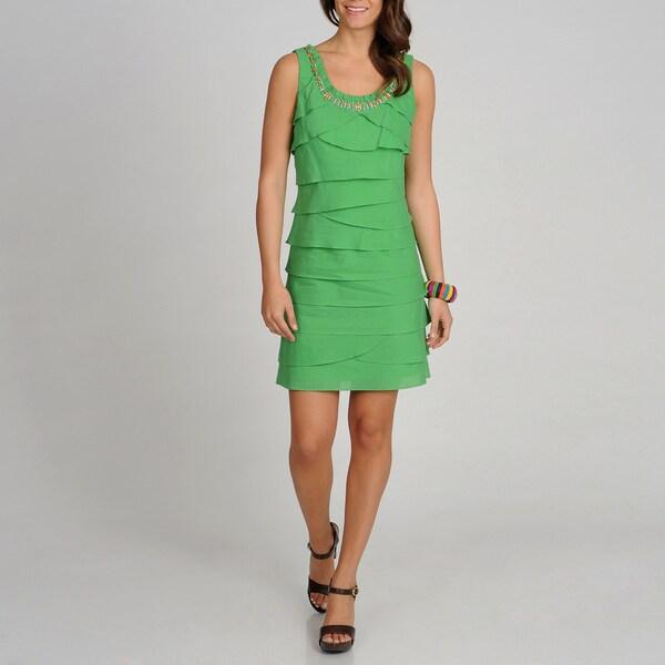 S.L. Fashions Women's Green S.L.eeveless Tiered Dress