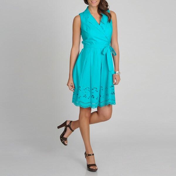 S.L. Fashions Women's Turquoise Eyelet Hem Sundress