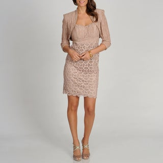 Ignite Evenings by Carolinn Women's Champagne Dress with Shawl