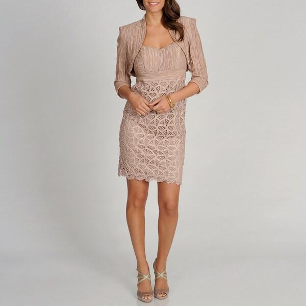 Ignite Evenings by Carolinn Women's Champagne Dress with Shawl