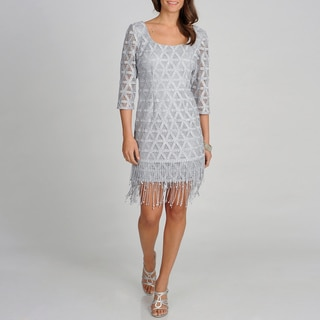 Ignite Evenings Womens Silver 3/4 Sleeve Lace Party Dress