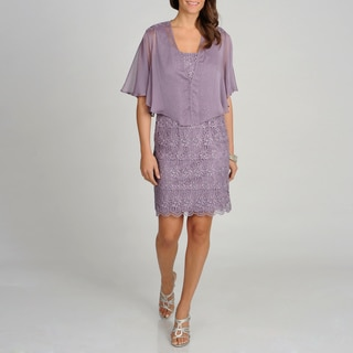 Ignite Evenings by Carollin Women's Dusty Lilac Dress with Shawl