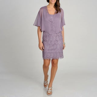 Ignite Evenings by Carollin Women&#39;s Dusty Lilac Dress with Shawl