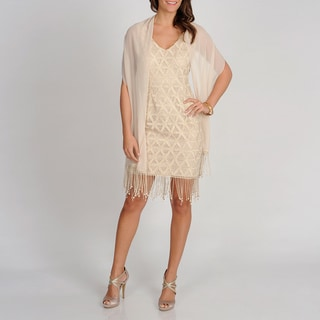 Ignite Evenings Women's Gold Sleeveless Lace Dress with Scarf