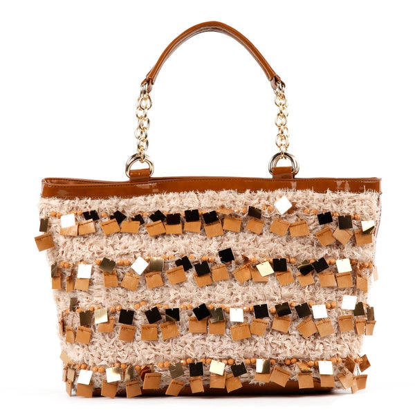 Nicole Lee 'Raven' Large Sequin/ Bead Shopper Bag