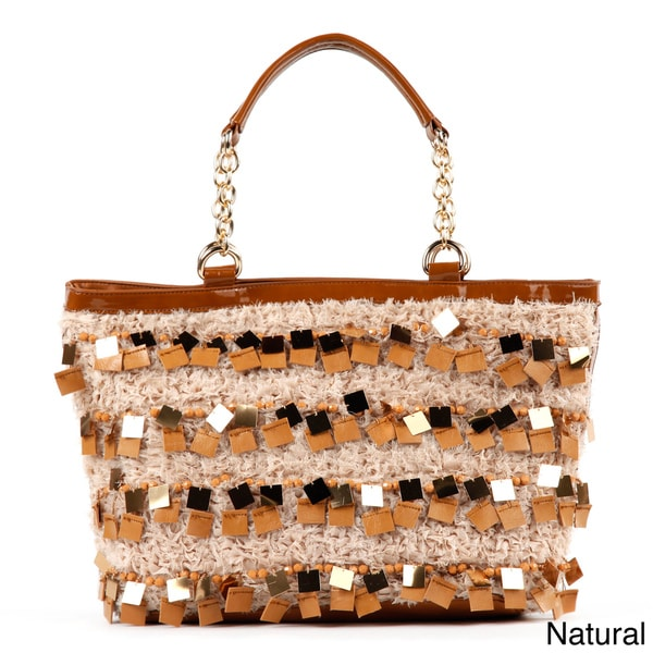 Nicole Lee 'Raven' Large Sequin/ Bead Shopper Bag