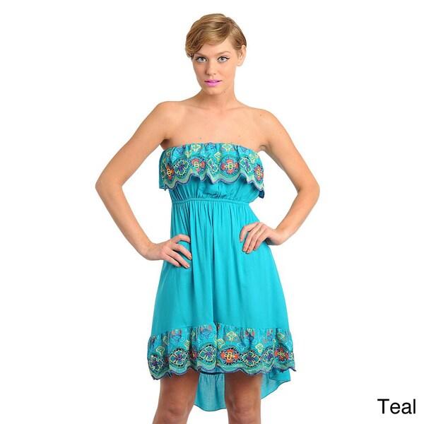 Stanzino Women's Embroidered Strapless Dress