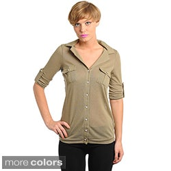 Stanzino Women's Mesh Back Button-front Top