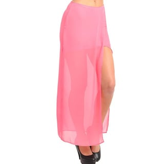 Stanzino Women's Pink Side Slit Long Skirt