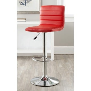 Safavieh Arissa Red Adjustable Height Swivel Bar Stool