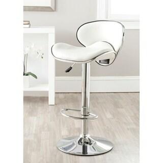 Safavieh Shambi White Adjustable Height Swivel 24-30.1-inch Adjustable Bar Stool