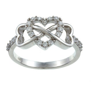 La Preciosa Sterling Silver White Topaz Heart and Infinity Ring