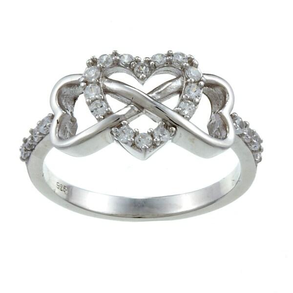 La Preciosa Sterling Silver White Topaz Heart and Infinity Ring