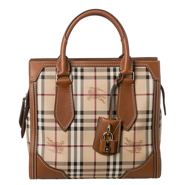 Burberry 'Classic Honeywood' Small Haymarket Check Tote Bag