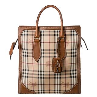 Burberry 'Haymarket Check Classic Honeywood' Medium Tote Bag