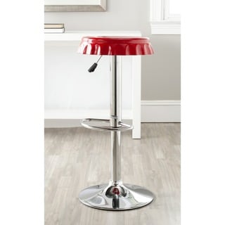 Safavieh Bunky Red Adjustable Height Swivel Bar Stool