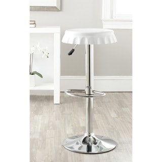 Safavieh Bunky White Adjustable Height Swivel Bar Stool