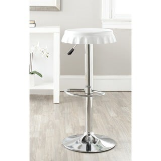 Safavieh Bunky White 23.6-32.1-inch Adjustable Height Swivel Adjustable Bar Stool