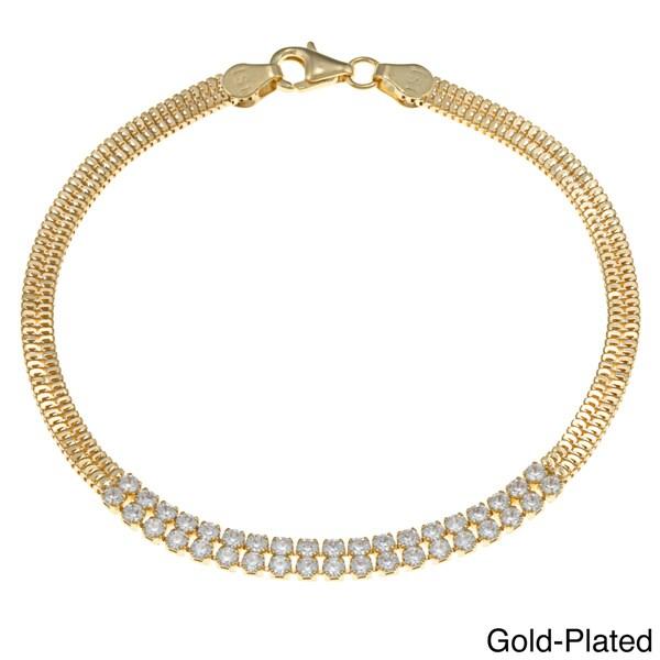 La Preciosa Goldplated Silver Cubic Zirconia Double-row Bracelet