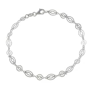 La Preciosa Sterling Silver Oval and Round Designed Link Bracelet