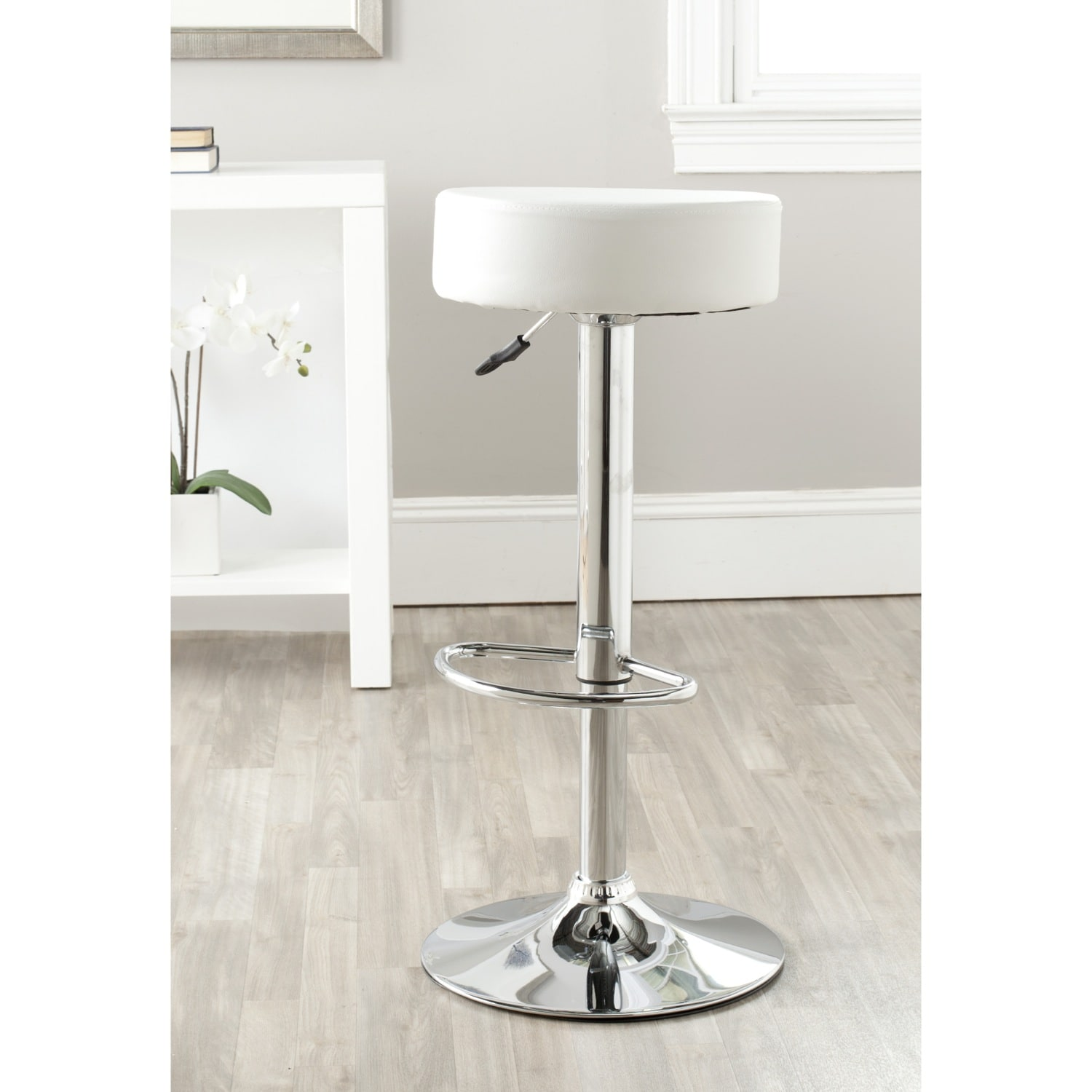 Safavieh Jute White Adjustable Height Swivel Bar Stool