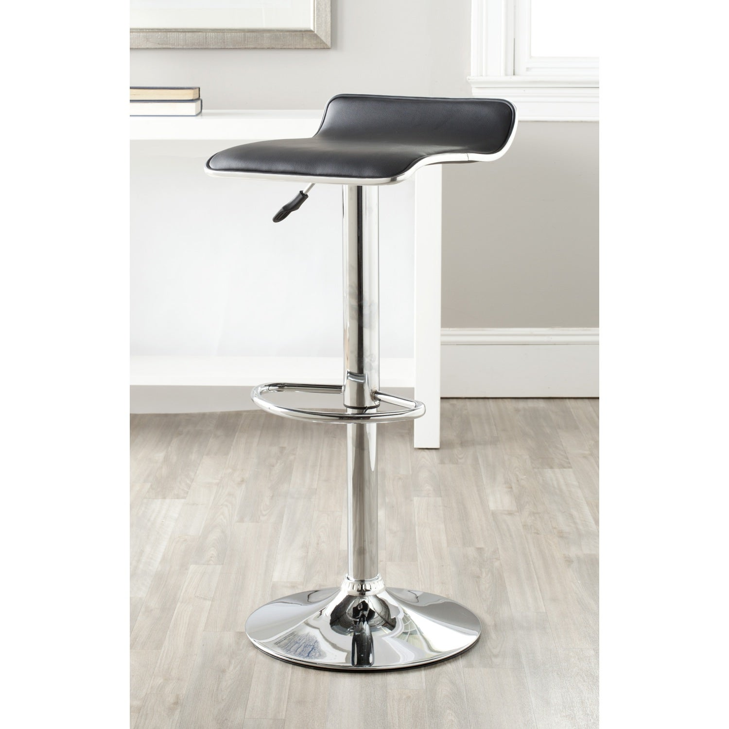 Safavieh Chaunda Black Adjustable Height Swivel Bar Stool