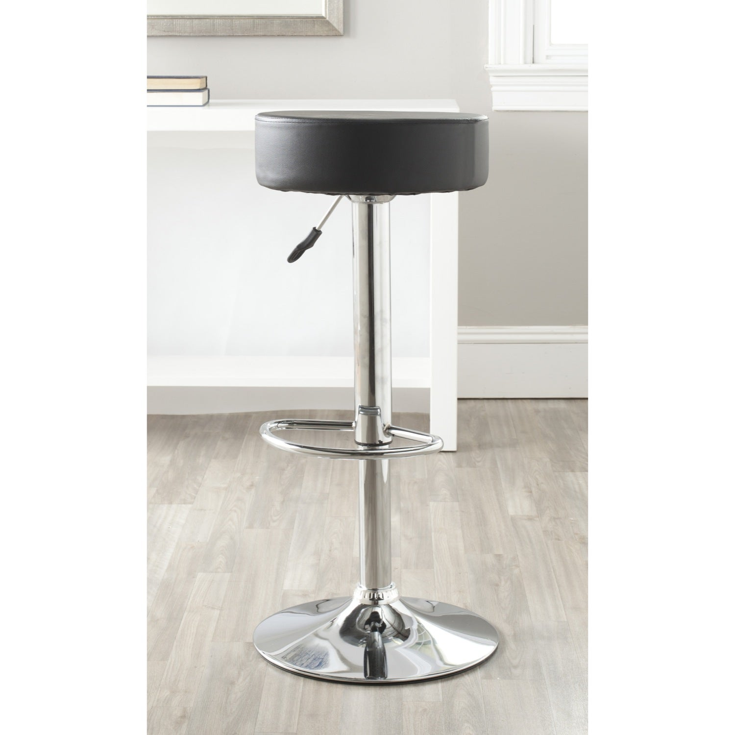 Safavieh Jute Black Adjustable Height Swivel Bar Stool