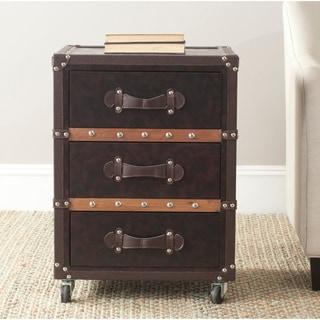 Safavieh Norman Storage Brown 3-Drawer Rolling Chest