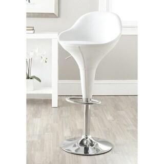 Safavieh Reptone White Adjustable Height Swivel 23.8-32.3-inch Adjustable Bar Stool